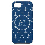 Navy Blue White Anchors Pattern, Your Monogram iPhone 5 Cases