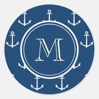 Navy Blue White Anchors Pattern, Your Monogram Classic Round Sticker
