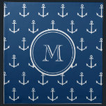 "Navy Blue White Anchors Pattern, Your Monogram Cloth Napkin<br><div class=""desc"">A preppy, nautical, navy blue and white anchor pattern with your initial in a modern font, on a navy blue circle label, banner, frame with white circular lines border. GraphicsByMimi&#169; Trendy, stylish, modern, cute anchors pattern you can personalize with your monogram for her. Use the template field to add your...</div>"