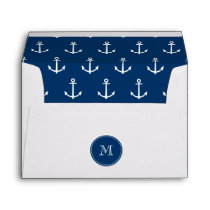 Navy Blue White Anchors Pattern, Your Monogram Envelope