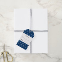 Navy Blue White Anchors Pattern, Your Monogram Gift Tags