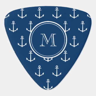 Navy Blue White Anchors Pattern, Your Monogram Guitar Pick