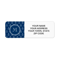Navy Blue White Anchors Pattern, Your Monogram Label