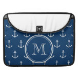 Navy Blue White Anchors Pattern, Your Monogram MacBook Pro Sleeves
