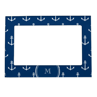 Navy Blue White Anchors Pattern, Your Monogram Magnetic Picture Frame