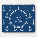 Navy Blue White Anchors Pattern, Your Monogram Mouse Pads