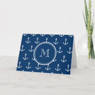 Navy Blue White Anchors Pattern, Your Monogram Note Card