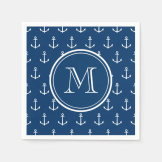 Navy Blue White Anchors Pattern, Your Monogram Paper Napkins