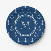 Navy Blue White Anchors Pattern, Your Monogram Paper Plate