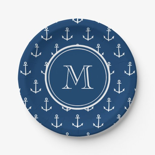 navy blue white anchors pattern your monogram paper plate zazzle. Black Bedroom Furniture Sets. Home Design Ideas