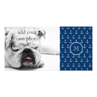 Navy Blue White Anchors Pattern, Your Monogram Photo Card