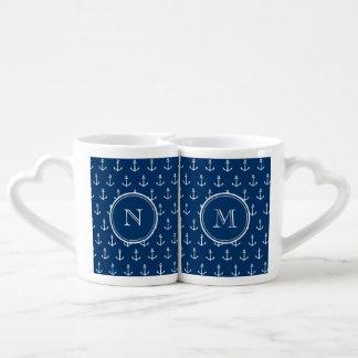 Navy Blue White Anchors Pattern, Your Monogram Lovers Mugs