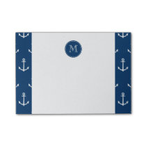 Navy Blue White Anchors Pattern, Your Monogram Post-it Notes