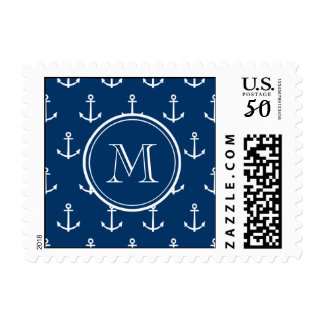 Navy Blue White Anchors Pattern, Your Monogram Postage