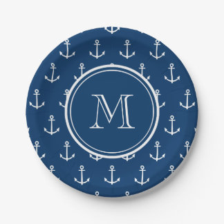 Navy Blue White Anchors Pattern, Your Monogram 7 Inch Paper Plate