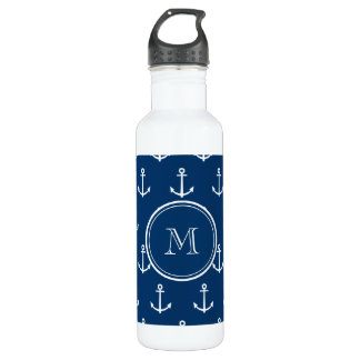 Navy Blue White Anchors Pattern, Your Monogram Stainless Steel Water Bottle