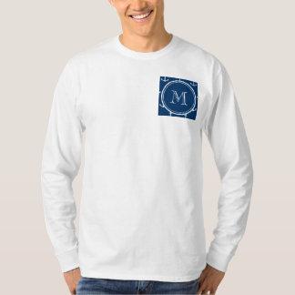 Navy Blue White Anchors Pattern, Your Monogram T Shirt