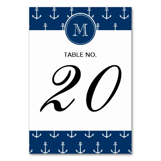 Navy Blue White Anchors Pattern, Your Monogram Table Cards