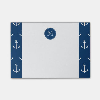 Navy Blue White Anchors Pattern, Your Monogram Post-it® Notes