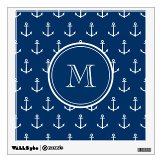 Navy Blue White Anchors Pattern, Your Monogram Wall Stickers