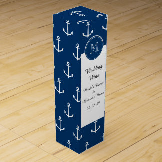 Navy Blue White Anchors Pattern, Your Monogram Wine Gift Box