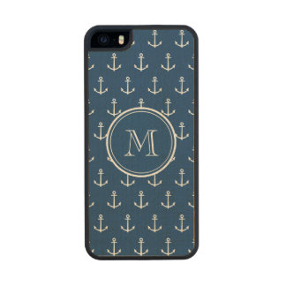 Navy Blue White Anchors Pattern, Your Monogram Wood Phone Case For iPhone SE/5/5s