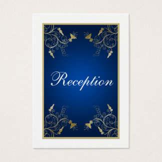 Navy Blue, White, and Gold Floral Enclosure Card
