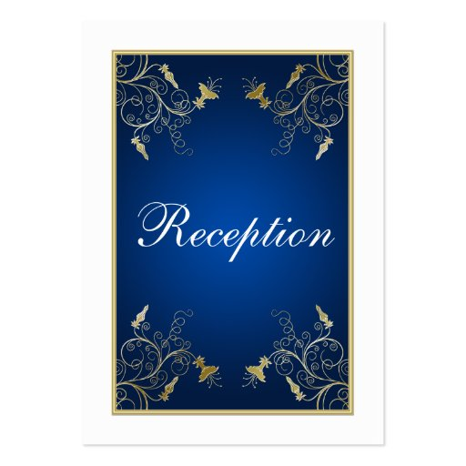Navy blue white and gold floral enclosure card large