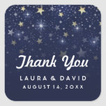 Navy Blue White and Gold Stars Wedding Thank You Square Sticker