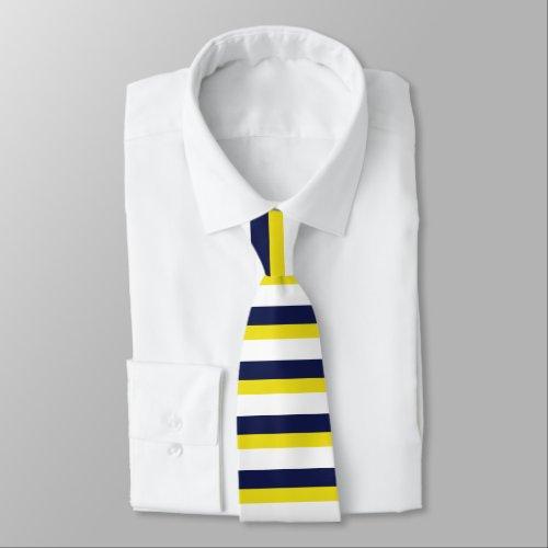 Navy Blue White and Maize Horizontally-Striped Tie