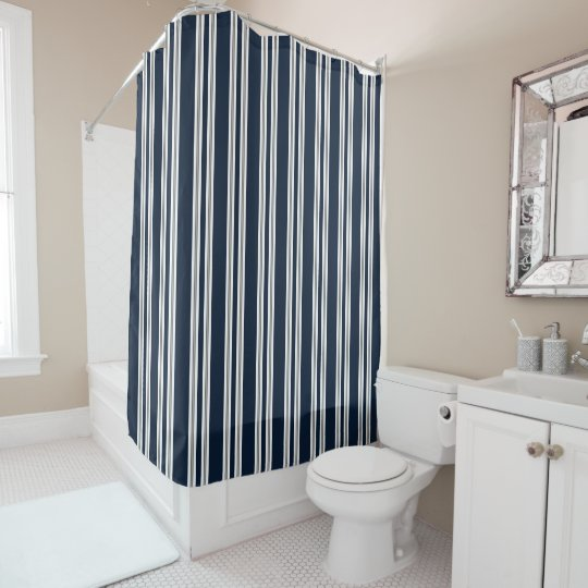 Navy Blue White And Silver Gray Vertical Stripes Shower Curtain