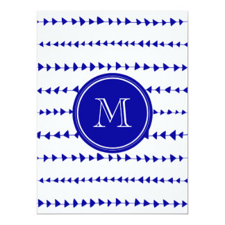 Navy Blue White Aztec Arrows Monogram 6.5x8.75 Paper Invitation Card
