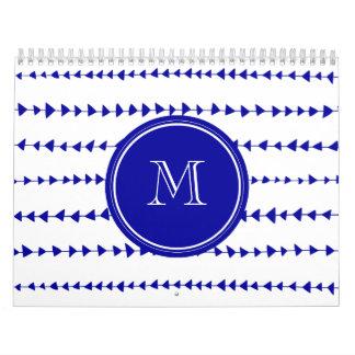Navy Blue White Aztec Arrows Monogram Calendar