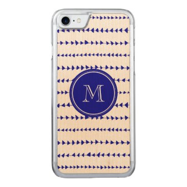 Aztec Themed Navy Blue White Aztec Arrows Monogram Carved iPhone 7 Case