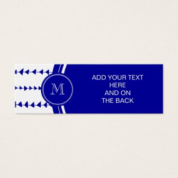 Aztec Themed Navy Blue White Aztec Arrows Monogram Mini Business Card
