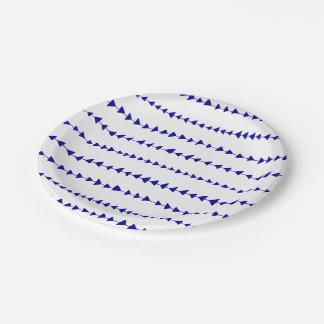 Navy Blue White Aztec Arrows Pattern Paper Plate