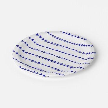 Aztec Themed Navy Blue White Aztec Arrows Pattern Paper Plate