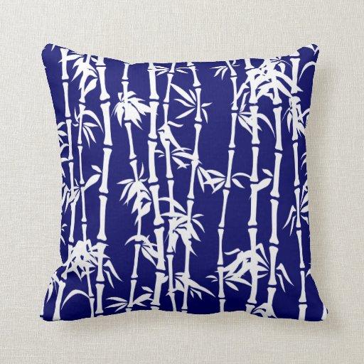 Custom Down Throw Pillows : Navy blue, white bamboo custom throw pillow Zazzle