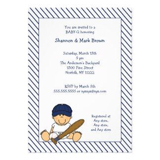 Navy Blue White Baseball Baby Shower Invite med