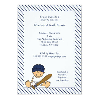 Navy Blue & White Baseball Baby Shower Invite med
