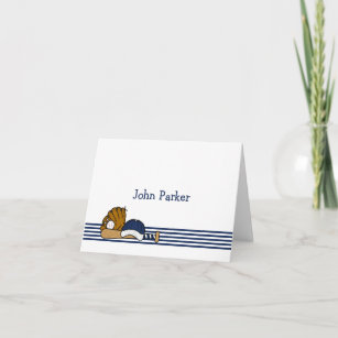 Baseball Stationery Thank You Note Cards