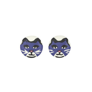 NAVY BLUE & WHITE CAT With White Whiskers Earrings