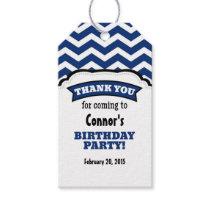 Navy Blue White Chevron Birthday Thank You Tags