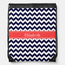 Navy Blue White Chevron Coral Red Name Monogram Drawstring Backpack
