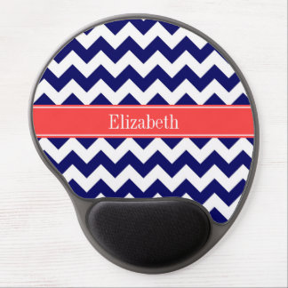 Navy Blue White Chevron Coral Red Name Monogram Gel Mouse Mats