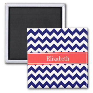 Navy Blue White Chevron Coral Red Name Monogram 2 Inch Square Magnet