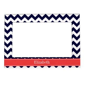 Navy Blue White Chevron Coral Red Name Monogram Magnetic Photo Frames