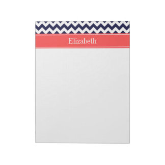 Navy Blue White Chevron Coral Red Name Monogram Note Pad