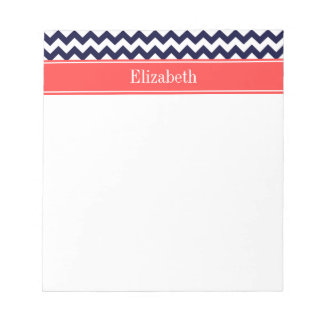 Navy Blue White Chevron Coral Red Name Monogram Notepads