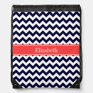 Navy Blue White Chevron Coral Red Name Monogram Backpack